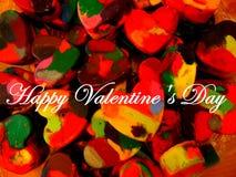 Día feliz del ` s de la tarjeta del día de San Valentín hecho de los creyones Imágenes de archivo libres de regalías