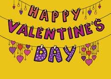 Día feliz del ` s de la tarjeta del día de San Valentín de la inscripción stock de ilustración