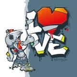Día feliz del `s de la tarjeta del día de San Valentín La pintura de espray para la pintada escribe saludos Tarjeta del día de Sa ilustración del vector