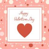 Día feliz del `s de la tarjeta del día de San Valentín Tarjeta del símbolo del corazón y de la inscripción deletreado stock de ilustración