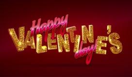 Día feliz del `s de la tarjeta del día de San Valentín texto 3d con las chispas en fondo rojo libre illustration