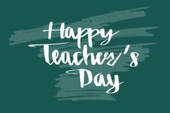 Día feliz del ` s del profesor en la pizarra, letras de la caligrafía Imagenes de archivo