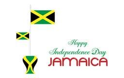 Día feliz Jamaica del indepedence de la bandera del icono del logotipo del diseño del ejemplo stock de ilustración