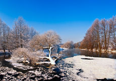Día frío en el río del invierno Imágenes de archivo libres de regalías