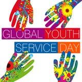 Día global del servicio de la juventud stock de ilustración