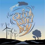 Día global del viento 15 de junio Ilustración del vector libre illustration