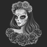 Día hermoso del ejemplo de la mujer del cráneo del azúcar de muertos Imagen de archivo