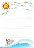 Día hermoso en nota del papel de la playa Fotografía de archivo libre de regalías