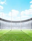 Día iluminado con focos del estadio stock de ilustración