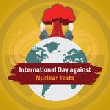 Día internacional contra pruebas nucleares, el 29 de agosto stock de ilustración
