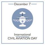 Día internacional de la aviación civil 7 de diciembre ilustración del vector