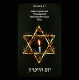 Día internacional de la conmemoración del holocausto 27 de enero hebreo Vec Fotos de archivo