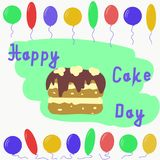 Día internacional de la torta Ejemplo del vector en estilo plano Foto de archivo