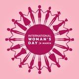 Día internacional de las mujeres con las manos de la tenencia de la mujer púrpura rosada para circundar diseño del vector de la b ilustración del vector