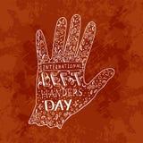 Día internacional de los zurdos Letras de 13 August Hand con el nombre del evento Silueta de la mano izquierda, garabato Foto de archivo libre de regalías