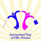 Día internacional de una más vieja persona Viejo hombre y mujer que saltan para la alegría stock de ilustración