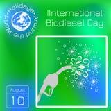 Día internacional del biodiesel 10mo de la pistola de August Refueling, de la cual las hojas y florecen están fluyendo Gráfico de Fotografía de archivo