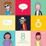 Día internacional del ` s de la mujer stock de ilustración