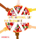 Día internacional para la tolerancia 16 de noviembre Manos de diferente Imagen de archivo libre de regalías