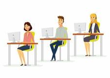 Día laborable en un centro de atención telefónica - ejemplo moderno de los caracteres de la gente de la historieta ilustración del vector