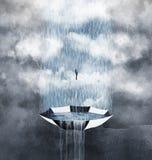 Día lluvioso y paraguas stock de ilustración