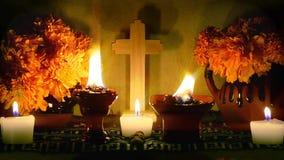Día mexicano del encabritado lento del altar muerto Dia de Muertos almacen de video