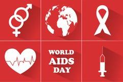 Día Mundial del Sida 1 de diciembre símbolo del día para luchar AYUDAS ilustración del vector
