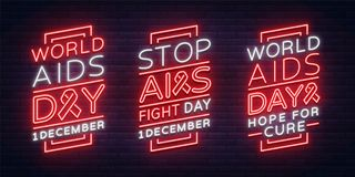 Día Mundial del Sida, el 1 de diciembre, un sistema de las banderas, carteles del neón-estilo Concepto de la conciencia de la con libre illustration
