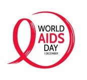 Día Mundial del Sida Marco exhausto del círculo de la mano con la cinta roja libre illustration
