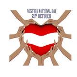 Día nacional de Austria, el 26 de octubre, ejemplo con las manos en la forma del corazón, dentro de la bandera nacional fotos de archivo libres de regalías