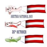 Día nacional de Austria, el 26 de octubre, sistema con tres aviones y banderas nacionales en un fondo aislado foto de archivo