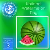 Día nacional de la sandía 3 August Watermelon y rebanada cortada Calendario de la serie Días de fiesta en todo el mundo Evento de Imagen de archivo