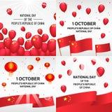 Día nacional en sistema de la bandera de China, estilo isométrico stock de ilustración