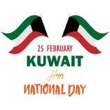 Día nacional feliz de febrero Kuwait de la bandera del ejemplo ilustración del vector