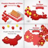 Día nacional feliz en sistema de la bandera de China, estilo isométrico ilustración del vector