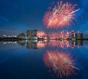 Día nacional 2015 SG50 del fuego artificial de Singapur Fotografía de archivo libre de regalías
