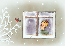 día nevoso stock de ilustración