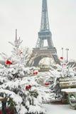 Día nevoso raro en París Fotografía de archivo libre de regalías