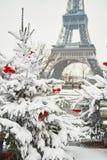 Día nevoso raro en París Foto de archivo