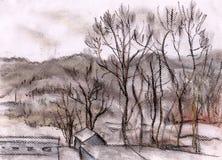 Colinas de una ciudad de Itaka stock de ilustración