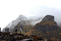 Día nublado en el campo bajo de Annapurna, Nepal Fotos de archivo libres de regalías