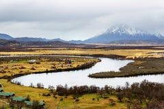 Día nublado en el parque nacional de Torres del Paine, Patagonia chilena Imagenes de archivo
