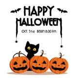 Día, palo y araña del feliz Halloween en el texto, asustadizo de la sonrisa linda de la calabaza partido fantasmagórico pero lind Imagen de archivo