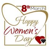 Día para mujer feliz 8 de marzo Día para mujer internacional Diseño tipográfico stock de ilustración