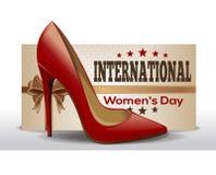 Día para mujer internacional 8 de marzo Tarjeta de felicitación retra del estilo Fotos de archivo libres de regalías