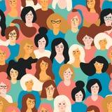 Día para mujer internacional Modelo inconsútil del vector con las caras de las mujeres libre illustration