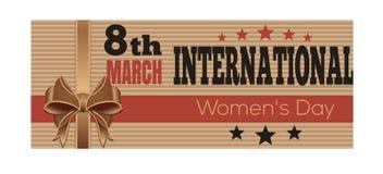 Día para mujer internacional Tarjeta de felicitación retra del estilo 8 de marzo stock de ilustración