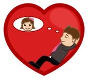 Día que sueña con una muchacha en vector romántico Fotos de archivo