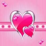 Día rosado de los corazones, de la tarjeta del día de San Valentín o de madres Fotografía de archivo libre de regalías