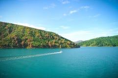 Día soleado con el fondo de la naturaleza Pequeña isla en Nueva Zelanda Colinas y montañas en verano Foto de archivo